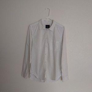 American Eagle Shirt White Black Hearts Prep Fit M